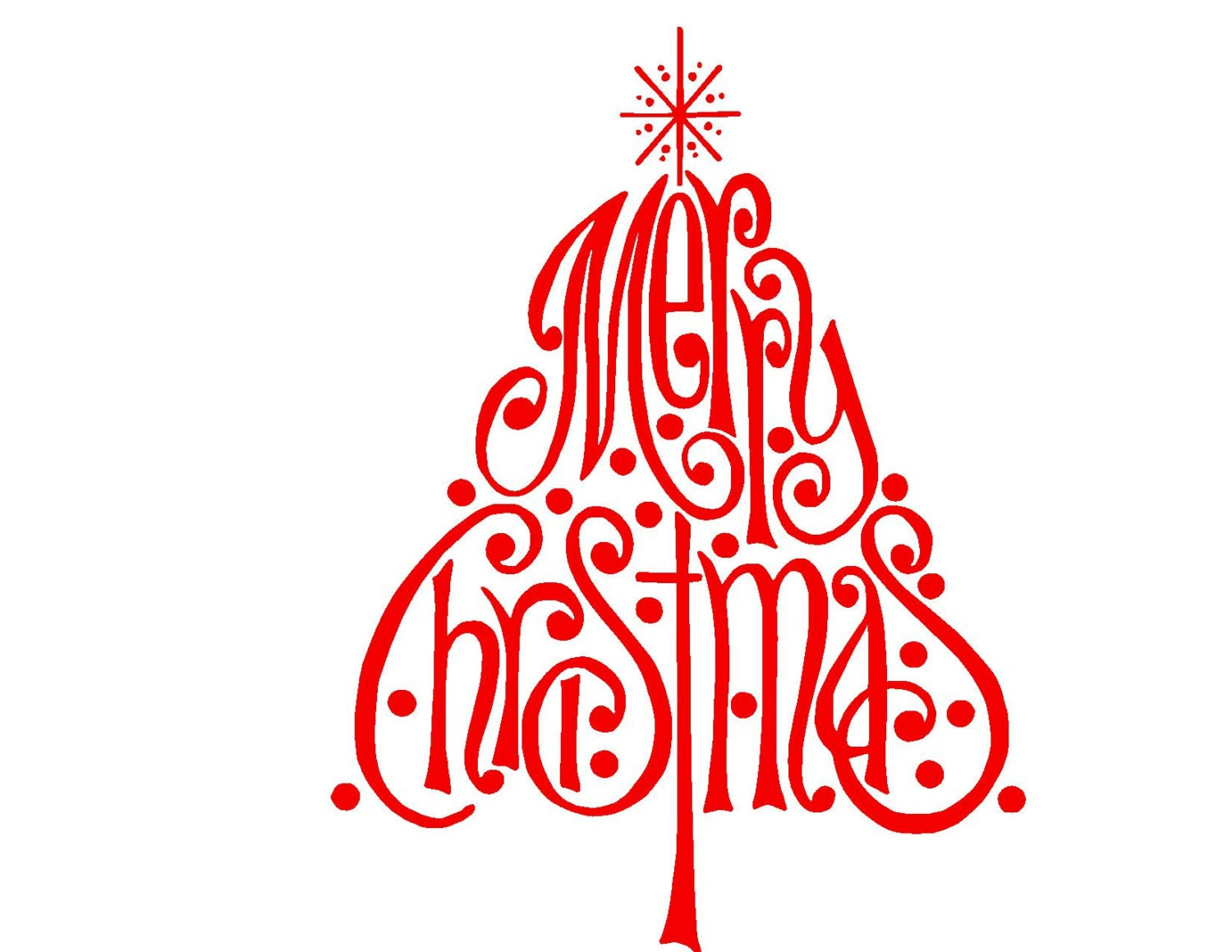Merry Christmas Tree Svg Or Silhouette Instant Download
