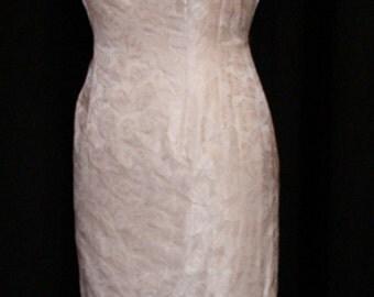 Vintage 1950s pale cream rose brocade cocktail wiggle dress S rockabilly Viva