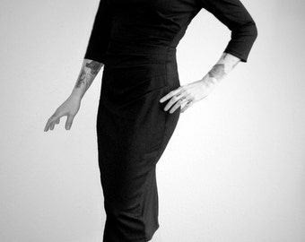 Vintage 1950s inspired jet black jersey autumn winter wiggle hourglass dress XS Joan  rockabilly VLV