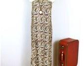 70s Vintage Paisley Bone Maxi Wrap Skirt/Strapless coverall dress/ Size Medium