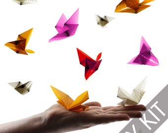 Origami Butterfly Kit - Make your own Geometric Origami Butterflies - Origami Paper Supplies - Paper Craft Kit - Art Project - DIY