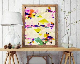 triangle art, abstract triangle print, geometric art print, scandinavian art, scandinavian print, geometric poster, triangle poster, large