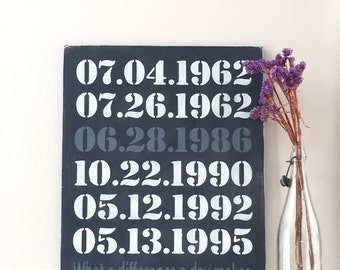 Important Date Sign, What A Difference A Day Makes, 5th Anniversary Gift, Family Sign, Wedding Gift, Engagement Gift, Custom Wood Sign
