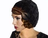 Art Nouveau Hat, Feather Flapper Hat, Crochet Hat, Black Knit Hat, 1920s Hat,Great Gatsby,Black Cloche Hat,Black Beanie,20s Hat,Gift For Her