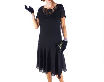 Retro Flapper Dress,  Great Gatsby Dress, Flapper Costume, 1920s Dress, 20s Dress, Roaring 20s Dress, Downton Abbey Dress, Black Chiffon