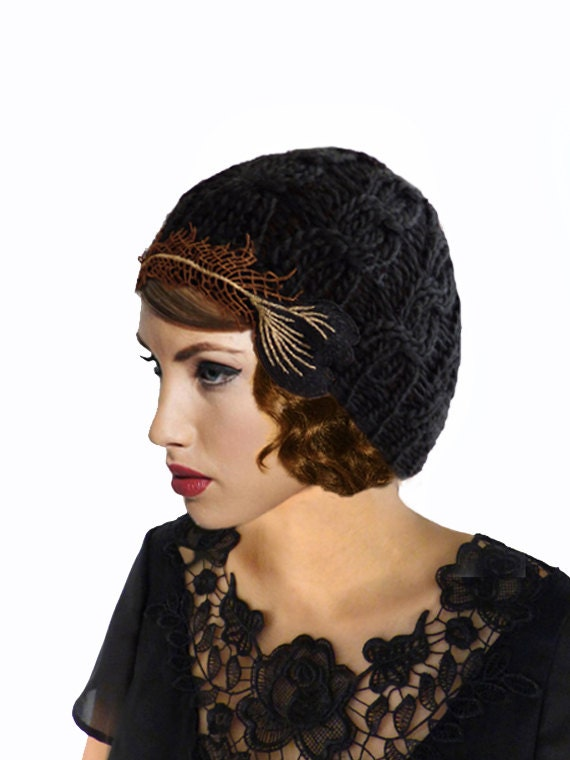 1920s Style Hats Art Nouveau Hat Feather Flapper Hat Crochet Hat Black Knit Hat 1920s HatGreat GatsbyBlack Cloche HatBlack Beanie20s HatGift For Her $38.00 AT vintagedancer.com