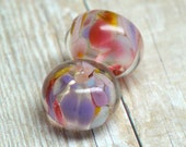 PAIR lampwork beads... SRA handmade, encased classic frits (sweet dreams) pair for making jewelry MaDE to ORdeR