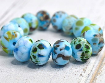 SRA handmade, gorgeous light baby blue with greens, ivory and browns matte finish lampwork bead set (14 beads) for making jewelry 91715-8