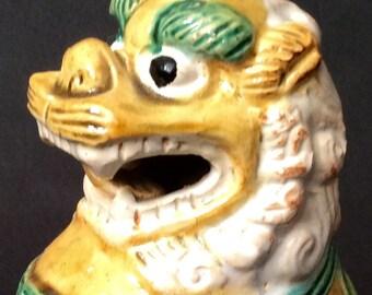 Oriental Shi Wan Vintage Male FOO DOG / LION / Symbolic Pottery Statue / Porcelain Glaze / Mid Century / Signed