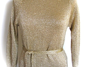 On Sale Vtg Wiggle 1960s Italian LAURA APONTE SRL Gold Metallic Knit Original Mock Turtleneck Misses With Belt And Slip