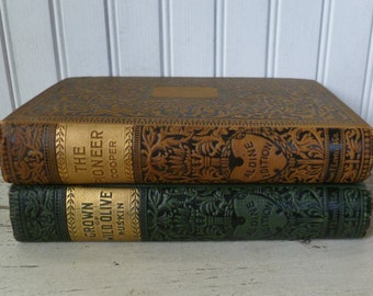 The Pioneers, James Fenimore Cooper & Crown of Wild Olive, John Ruskin. Vintage Antique 1800s. Set 2 Books. Aldine Edition. Green Orange.