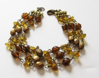 Triple Strand Bracelet with Vintage Earth Tone Beads Bead Strand Bracelet