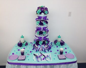 Aqua & Purple Platinum Diaper Cake