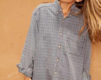 oxford faded BLUE vintage 80s 90s denim TWIN PEAKS leo shirt