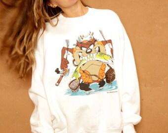 90s TAZ NASCAR dad FISHERMAN tasmanian devil vintage sweatshirt