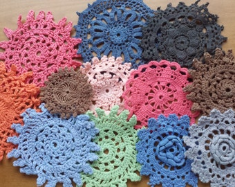 12 Hand Dyed Vintage Crochet Doilies
