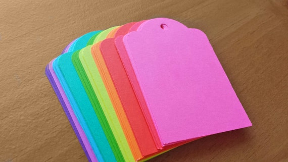 30 paper tags bright color hand punched cardstock tags 3 for Price tags for craft shows