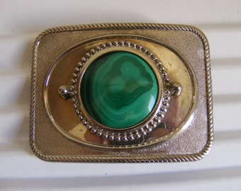Malachite Metal Belt Buckle