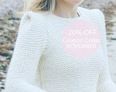 20% 0FF! READY TO SHIP natural white long sleeved women wool hand knit sweater sharp shoulders fall trends