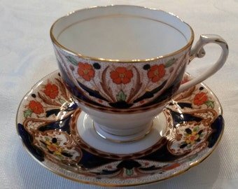 Royal Grafton Tea Cup and Saucer; Hand Painted and Hand Enameled circa 1949 plus-  DR