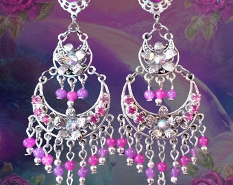 """Orchid Pink 2 Tier Gold or Silver Chandelier Earrings, 3"""" Long Hot Pink Crystal Earrings, Fantasy Floral Jewelry, Fuchsia Pink Flowers"""