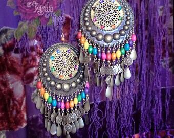 Lightweight! Huge Exotic Moroccan Earrings, Turquoise, Boho Bronze Gypsy Hoops, Coins, Wood, Swarovski Rainbow Chakra Mandala, Red