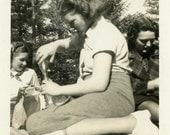 "Vintage Photo ""Stealing Cola"" Soda Snapshot Photo Old Antique Photo Black & White Photograph Found Photo Paper Ephemera Vernacular - 191"