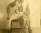 "Vintage Real Photo Postcard ""The Last Cowboy"" Lasso Western Hat Old Antique RPPC Photo Black & White Photograph Found Paper Ephemera - 191"