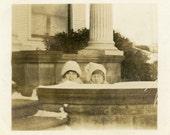 "Vintage Photo ""Peek-a-boo Cuties"" Snapshot Photo Old Antique Photo Black & White Photograph Found Photo Paper Ephemera Vernacular - 158"