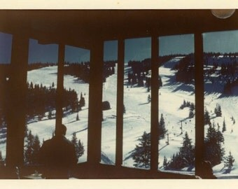 "Vintage Color Photo ""Ski Resort Memories"" Snow Window Artistic Snapshot Old Antique Photograph Found Picture Paper Ephemera Vernacular - 54"
