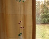 Scottish Sea Glass Wind Chime, Sun Catcher from Scotland, White Beach Glass with Green and Purple Beads, Recycled Windchime, Garden Decor