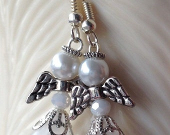 Handmade Angel Earrings White Crystal Bead Glass Pearl, White Flower Dress  Silver Wings and Accents - Cute earrings, nice to wear or gift.
