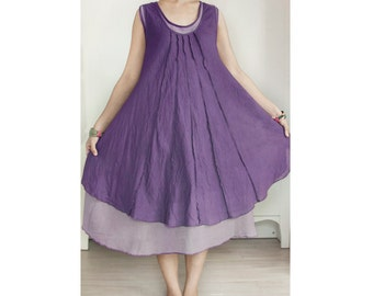 Cotton Sleeveless Two Layer Summer Dress, Maternity Dress in Purple