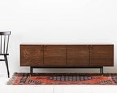 Solid Walnut Credenza with Steel Base - Brass Pulls - Adjustable Brass Feet