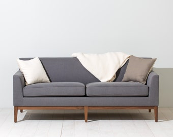 Grey Lewis Sofa with Solid Walnut Base - Polyester Fabric - Available in other colors / fabrics