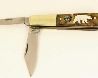 Frost Ocoee River Sterling silver Bear inlay pocket knife