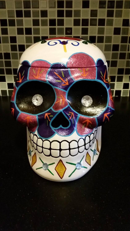 sugar skull day of the dead cookie jar dia de los muertos