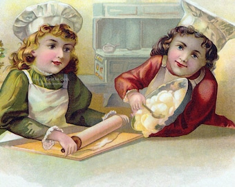 Children Bake Card - Little Chefs in the Kitchen - With or Without Caption