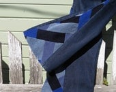 "SALE! 50% OFF! Upcycled Bell Bottoms,'Zig Zag' patchwork jeans ""Song I heard the Ocean Sing"" one-of-a-kind, hippie, eco"