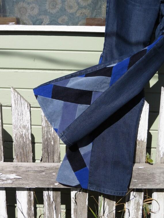 SALE 50% OFF Upcycled Bell Bottoms'Zig Zag' by amyvsfabric on Etsy