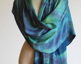 Green and blue hand painted plaid fringed shawl, transitional scarf by 88editions