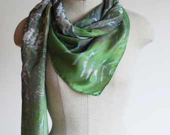 fall woodland scarf, green silk scarf,  hand printed scarves by 88editions