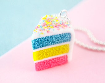 Food Jewelry - Cake Necklace - Easter Cake - Charm- Polymer Clay - Rainbow