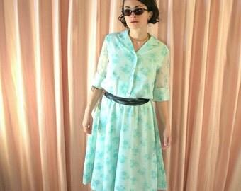 Sheer Pastel Seafoam Shirt Dress