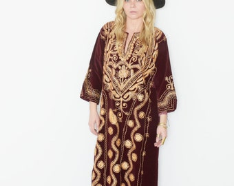 Vintage 60s Ethnic Caftan , Embroidered Velvet Maxi Dress