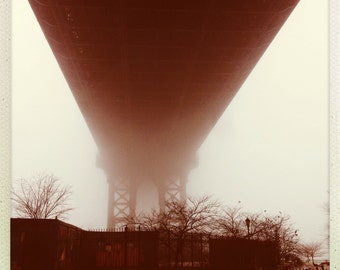 Manhattan Bridge Brooklyn New York City Foggy Art Photograph Print