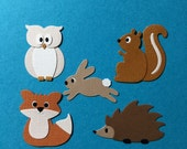Forest Animal Die Cut Embellishments Fully Assembled Owl Fox Bunny Squirrel Hedgehog Paper Crafts
