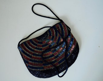 Vintage 70s Tube Beaded Evening Purse