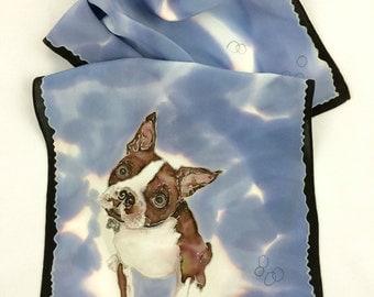 Boston Terrier Scarf in Blues 14x72
