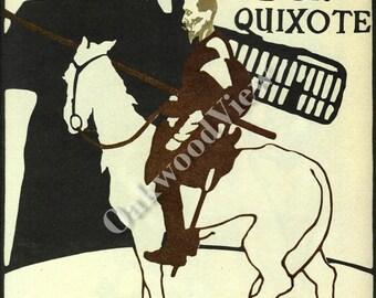 Lyceum Don Quixote Print by William Nicholson, Art Nouveau 2-sided 1984 10x11 Bookplate Art, The Marrow by Frank Brangwyn, FREE SHIPPING